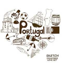 Portuguese symbols in heart shape concept vector