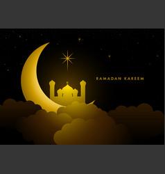 ramadan kareem greeting with crescent moon and vector image