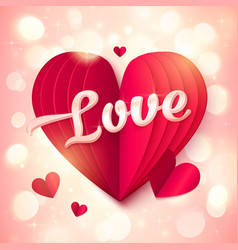 Red folded paper heart with pink 3d love sign vector