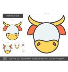Red meat line icon vector