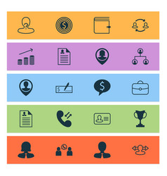 resources icons set collection of curriculum vector image