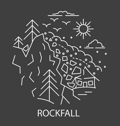 rockfall natural disaster vector image