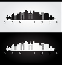 san jose usa skyline and landmarks silhouette vector image