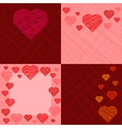 set four valentines day cards vector image