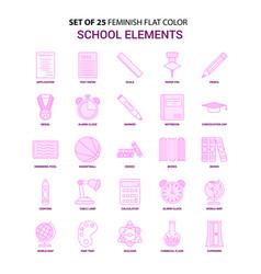 set of 25 feminish school elements flat color vector image