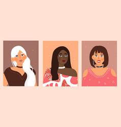 Set portraits women different gender vector