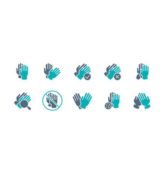 set protective gloves colored icon hand vector image