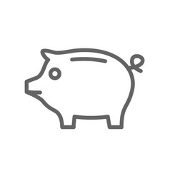 simple piggy bank line icon symbol and sign vector image