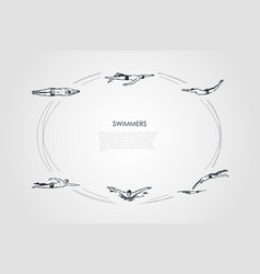swimmers - male sportsmen swimming in traditional vector image