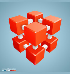 three-dimensional abstract orange cube vector image