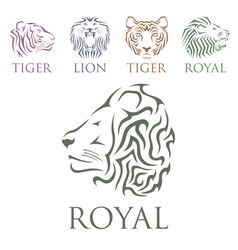 Tiger head royal badge with beautiful animal vector