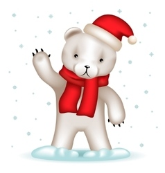Toy Bear Cub Santa Claus Hat Greeting Waving Hand vector image