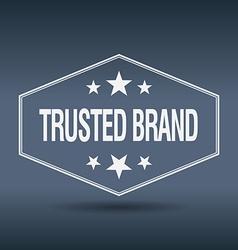 Trusted brand hexagonal white vintage retro style vector