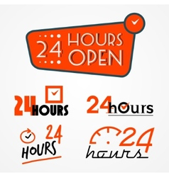 Twenty four hours labels set vector image