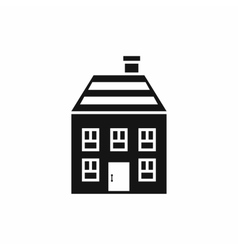 Two-storey house with chimney icon simple style vector