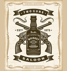 Vintage western saloon label graphics vector
