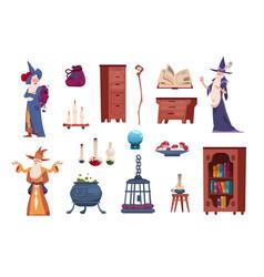 Wizard tools cartoon magician casts spells vector