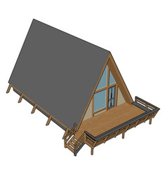 wooden house on white background vector image