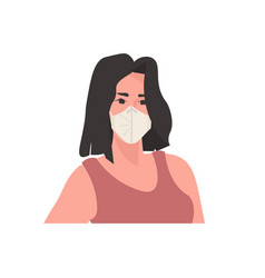 young woman wearing medical mask to prevent vector image