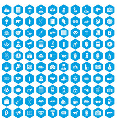 100 donation icons set blue vector
