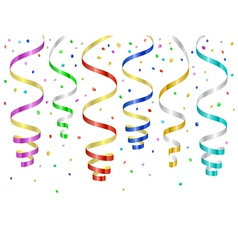 Confetti and serpentines party curled streamers vector image