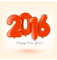 Happy New Year and card with red balloons vector image
