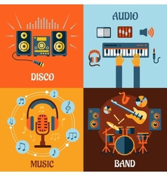 Music audio disco band flat icons vector image vector image