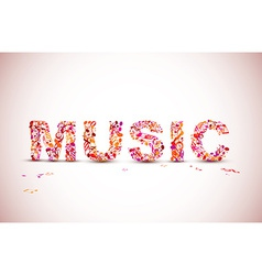 music lettering theme made from black notes vector image vector image