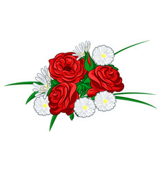 roses and daisies vector image vector image