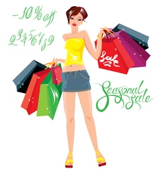 Smiling Happy girl holding shopping bags vector image