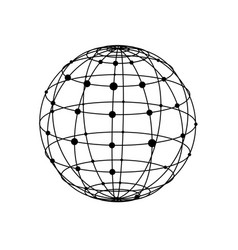 wireframe sphere with dots vector image vector image