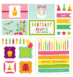 Birthday Party Invitation Set - for Birthday Baby vector image vector image