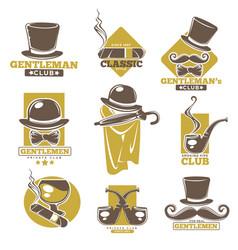 gentlemen club logo labels set on white colorful vector image vector image