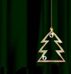 Green drape with jewel christmas tree vector