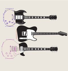 Guitars in Outline vector image vector image