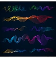 Luminous 3d sound waves energy effect set vector image