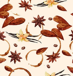 Watercolor coffee pattern with coffee beans and vector image vector image