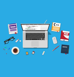 Workplace of programmer or coder vector
