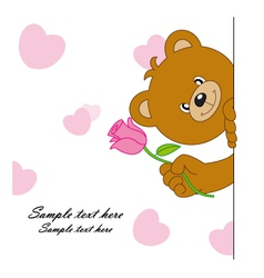 Bear with a flower vector image vector image