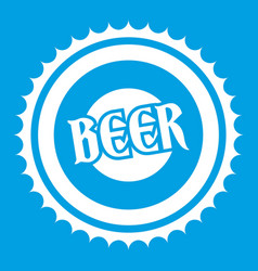 beer bottle cap icon white vector image