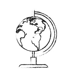 blurred silhouette image cartoon earth globe vector image