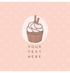 Cute greeting card with cupcake vector image