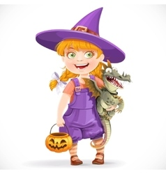 Cute little witch with a dragon under his arm and vector