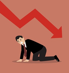 Desperate businessman with graph down vector image