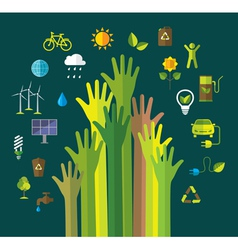 Environment and ecology banner with flat icons vector image