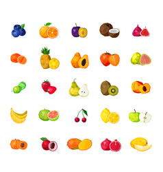 fresh fruits big polygonal icons set vector image vector image