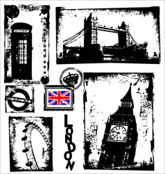 london in grunge background vector image