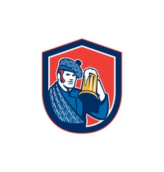 Scotsman Beer Drinker Mug Shield Retro vector image vector image