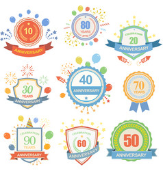 Anniversary celebration emblems set with ribbons vector image vector image