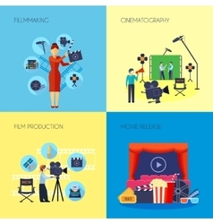 Filmmaking concept 4 icons square vector